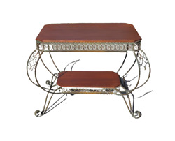 Antique Wrought Iron Hand Made French Coffee Table 1930-40 Wood