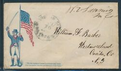 Patriotic Cover Union Soldier W/ Flag Free Franked To Oneida, Ny Bv2158