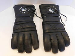 DESIGNER MENS BLACK LEATHER  MOTOR CYCLE GLOVES THINSULATE LINING SIZE XXL $32.99