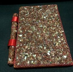 Vintage Note Book Inlaid With Small Colored Stones Mosaic Hand Made Fountain Pen