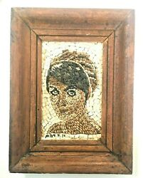Vintage Handicraft Mosaic Stone Painting Masterpiece Face A Women Wood Frame 9