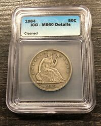 1864 50c Seated Liberty Silver Half Dollar Icg Ms60 Details Cleaned
