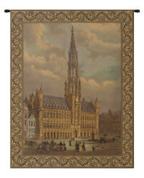 Town Hall Brussels Belgian Woven Decor Wall Hanging Tapestry 40 x 33
