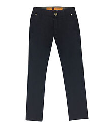 Jm Icon Men's Dark Blue Wool Jeans Chinos With Logo Patch, Size 30,31,37,42
