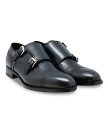 Brioni Men's Midnight Blue Calf Leather Anthony Ii Double Monk Dress Shoes