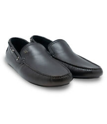 Brioni Menand039s Black Grey Calf Leather Moccasins Shoes Size 5 6 Us 6.5 7.5 Us