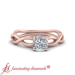 Half Carat Solitaire Cushion Cut Diamond Braided Style Engagement Ring For Women