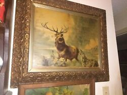 Sir Edwin Landseer The Stag At Bay Print In Color - Dated 1894 - Framed