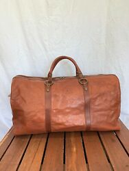 IL BISONTE Designed by Wanny Di Filippo Vintage Genuine Brown Leather Duffel Bag