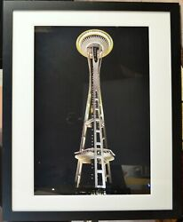Framed Photographic Print Of Seattle Space Needle At Night