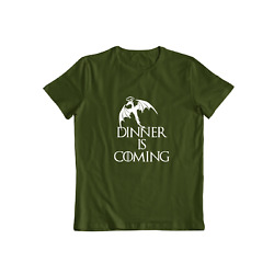 Mens T-shirt Dinner Is Coming Fun Shirt Parody Grilling Bbq Barbecue Food Tee