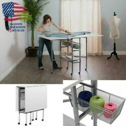 Craft Table With Storage Drawers Folding Sewing Machine Table White Accessories