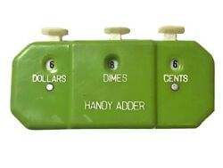 Vintage Handy Adder Coin Counter Hand Held Bank Counting Green