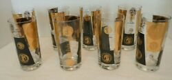 8 Vintage Cera Black And 22k Gold Coin Double Old Fashioned Tall Highball Glasses