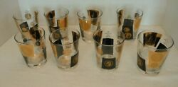 8 Vintage Cera Black And 22k Gold Coin Double Old Fashioned, Lowball Glasses