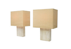 2 Large Travertine And Brass Table Lamps By Draenert Germany 70s Lampe 70er