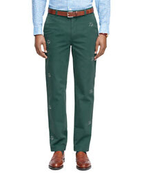 Brooks Brothers Men's Milano Fit Seagull Embroidered Chinos, Green 36x305343-9