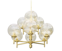 Brass Chandelier With Nine Glass Globes 60s Lamp Pendant