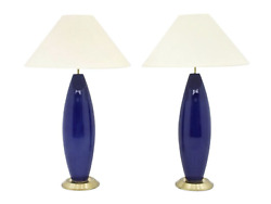 Pair Of Cobalt Blue Glass Table Lamps With Brass Base 70s 70er Lampe Tischlampe