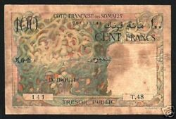 Djibouti 100 Francs P26 1952 Coral Trunk Palm Tree Rare Currency Money Bank Note