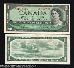 Canada 1 Dollar P75 B 1954 Replacement Young Queen Unc Money Bill Bank Note