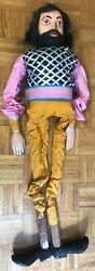 Antique Medieval Wood Carved And Painted Puppet