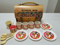 Antique Disney School Bus Tin Can Lunch Bag And Plastic Mugs Plates Japan F/s