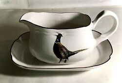 Stanhome Exclusive Game Birds Gravy Boat With Underplate