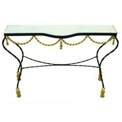 Black Gold Iron Swag Tassel Console Table Ornate Marble Metal Sofa Rope 42 In