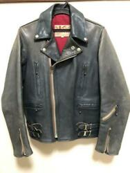Addict Clothes Vintage Blue Horsehide Riders Jacket Size 34 Used Made In Japan