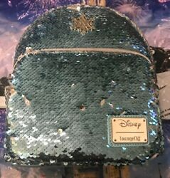 Loungefly Disney Frozen Elsa Reversible Sequin Mini Backpack Brand New In Hand $49.99