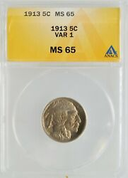 1913 Type 1 Buffalo Nickel 5-cent Anacs Ms 65 High Grade Investment Indian Head