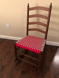 Antique 19th Century Shaker Style Youth Rocking Chair Brand New Shaker Tape Seat