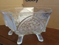 Eapg Gillinder And Sons Classic Pattern Footed Hexagonal Bowl Vintage