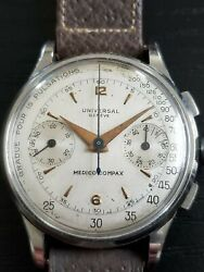 Universal Geneve 35mm Medico Compax Stainless Chronograph Cal 285 Wrist Watch Ss