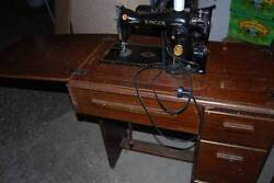Antique Singer Sewing Machine Table Model 15-91 Trefoil Decal Gear Drive