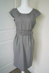 Calvin Klein Gray Sheath Midi Belted Dress Workwear Professional Cute 10 Petite $39.99