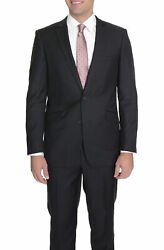 Mens 38r Menand039s Raphael Slim Fit Solid Black Two Button Wool 2 Piece Formal Bu...