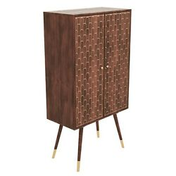Tall Solid Wood Drinks Cabinet With Wine Glass Rack - Dejan