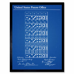 Louineau Dominos Game Pieces 1873 Patent Plan Wall Art Print Framed 12x16