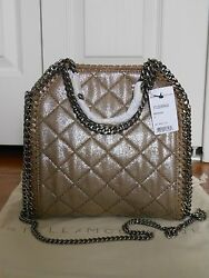 Nwt Auth 1200 Stella Mccartney Falabella Quilted Metallic Tote, Redwood