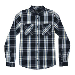 Rvca Reverberation Long Sleeve Flannel Shirt Navy Marine Plaid Button Up