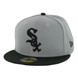 New Era 59Fifty Chicago White Sox Fitted Hat (Storm Grey Black-Black) Men's Cap $34.99