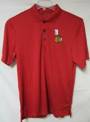 Chicago Blackhawks Men's Size S And Xl Adidas Polo Golf Shirt W/ Upf 30 Red A1 94