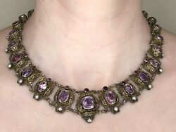 1800and039s Vintage Silver Amethyst Natural Pearl Necklace Brass Silver Circa 1867