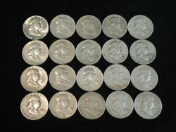 Roll Franklin Half Dollars 20 Coins Mixed Dates 90 Silver Fr2