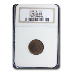1875 Indian Head Cent Ms-65 Ngc Red/brown - Sku210125