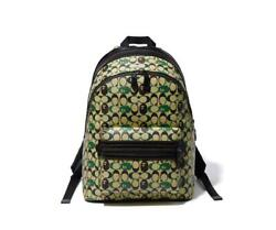 Bape X Coach Academy Backpack In Signature Canvas With Ape Head F/s From Japan