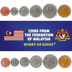 Set Of 6 Coins From Malaysia. 1 5 10 20 50 Sen 1 Ringgit. 1989-2011