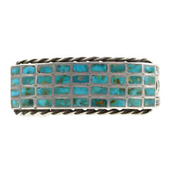 C. 1940s Zuni Turquoise Channel Inlay And Silver Bracelet, Size 6.25